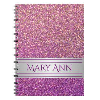 Customized Purple Confetti Glitter Faux Sparkling Spiral Note Books