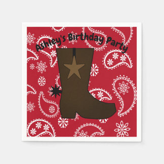 Customized  Red Bandana Cowboy Boot Paper Napkin