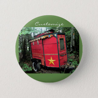 Customized Red Gypsy tiny caravan 2 Inch Round Button
