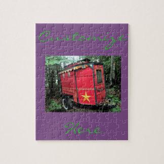 Customized Red Gypsy tiny caravan Jigsaw Puzzle