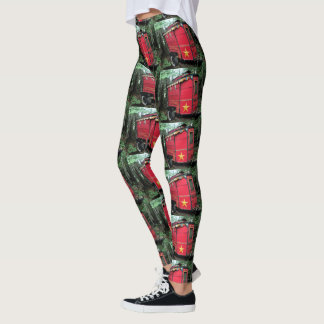 Customized Red Gypsy tiny caravan Leggings