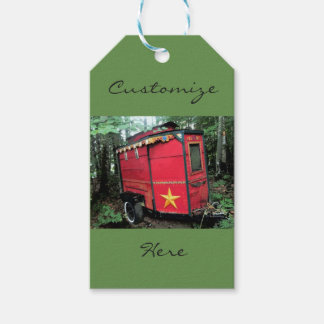 Customized Red Gypsy tiny caravan On caravan Gift Tags