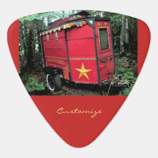 Customized Red Gypsy tiny caravan On caravan Guitar Pick