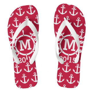 Customized Red Nautical Anchors Pattern Flip Flops