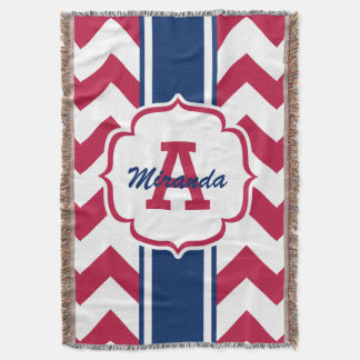 Customized Red White Blue Chevron Print Throw Blanket