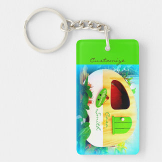 Customized retro camper casa keychain
