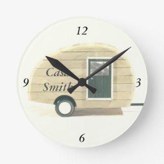Customized Retro teardrop camper tan Round Clock