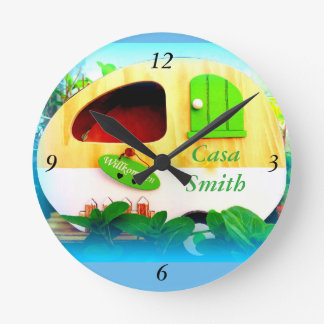 Customized Retro Vintage camper blue Round Clock