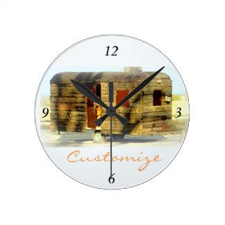 Customized Retro Vintage weathered caravan Round Clock