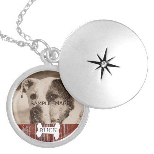 Customized Rustic Pet Photo Memorial Keepsake Personalized Necklace