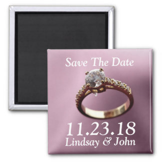 Customized Save The Date Diamond Engagement Ring Square Magnet