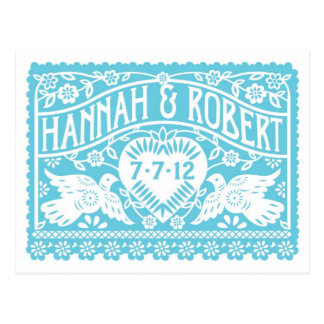 Customized Save the Date postcard - Turquoise