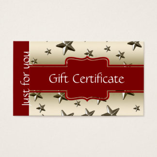 Customized Shiny Gold Stars Gift Certificate