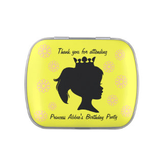 Customized Silhouette Princess Birthday Candy Tin