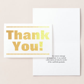"""Customized Simple Gold Foil """"Thank You!"""" Card"""