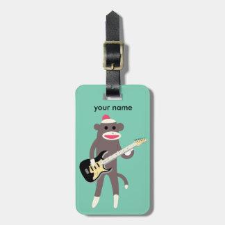 Customized Sock Monkey Rocks w/ Electric Guitar Luggage Tag