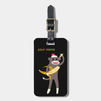 Customized Sock Monkey with Banana Swords Luggage Tag