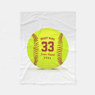 Customized Softball Team Fleece Blanket