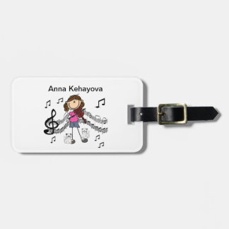 Customized Stick Figure Violin Player Luggage Tag