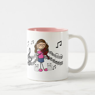 Customized Stick Figure Violin Player Mug