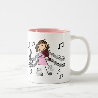 Customized Stick Figure Violin Player Mug 2