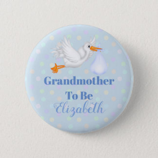 Customized Stork Grandmother To Be Baby Shower 2 Inch Round Button