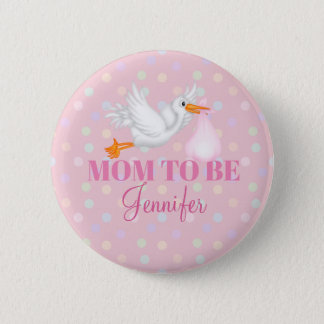 Customized Stork Mom to Be Baby Shower Button