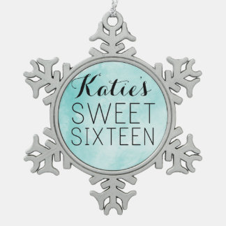 Customized Sweet 16 Snowflake with Blue Watercolor Pewter Snowflake Ornament