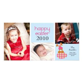 Customized Sweet Happy Easter 3-Photo Card: blue Custom Photo Card