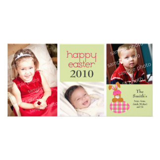Customized Sweet Happy Easter 3-Photo Card: green Photo Card Template