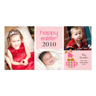 Customized Sweet Happy Easter 3-Photo Card: pink Card