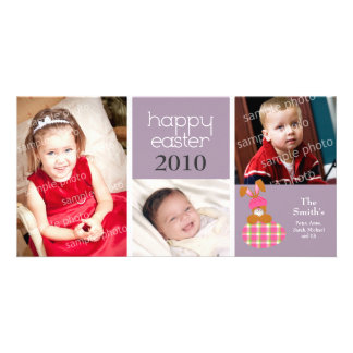Customized Sweet Happy Easter 3-Photo Card: purple Picture Card