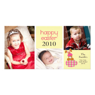 Customized Sweet Happy Easter 3-Photo Card: yellow Photo Greeting Card