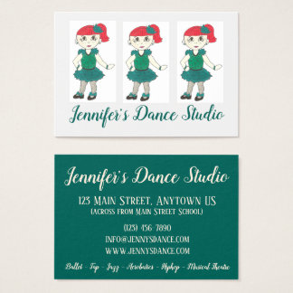 Customized Tap Dance School Studio Teacher Green Business Card