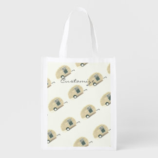 Customized teardrop Vintage camper Reusable Grocery Bag