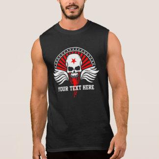 Customized Text Biker Skull & Wings Sleeveless Shirt