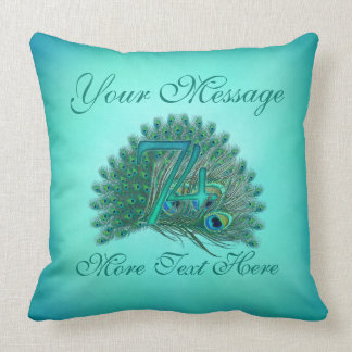 Customized text elegant 74th Birthday 74 Pillow