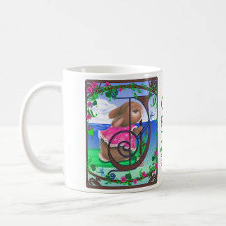 Customized Tropical Bunny with Initial J Mug