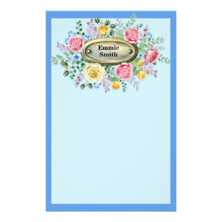 Customized Vintage Pink Yellow Floral on Blue Stationery