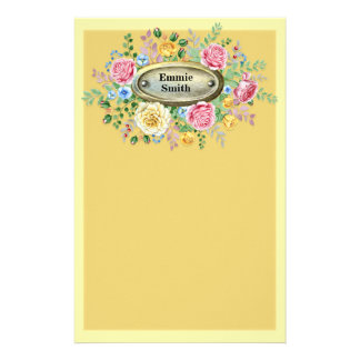Customized Vintage Pink Yellow Floral on Yellow Stationery