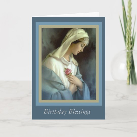 Customized Virgin Madonna Mary With Rose Card Zazzle