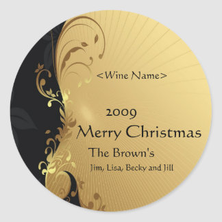 Customized Wine Labels for Christmas Gold