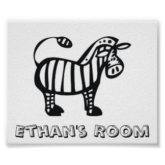 Customized Zebra Children's Room Poster