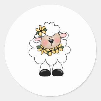 customlambflowers classic round sticker