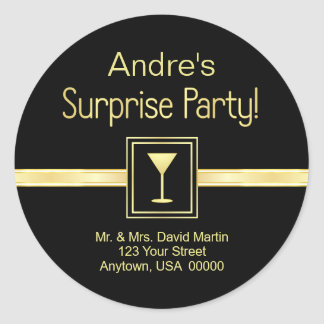 Customn Address Labels - Surprise Party Round Sticker