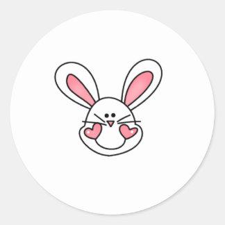 customwhitebunnyhead round sticker
