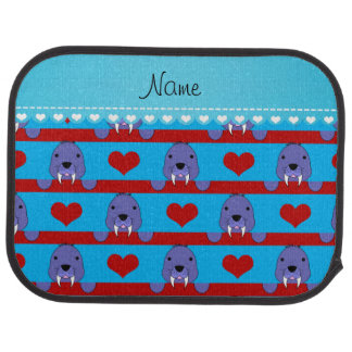 Custon name sky blue walrus red hearts stripes car mat