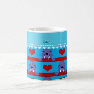 Custon name sky blue walrus red hearts stripes coffee mug