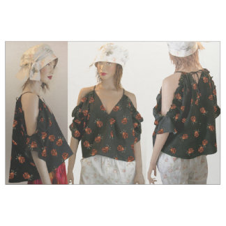 Cut and Sew Fashion STRING TOP with Cold Shoulders Fabric