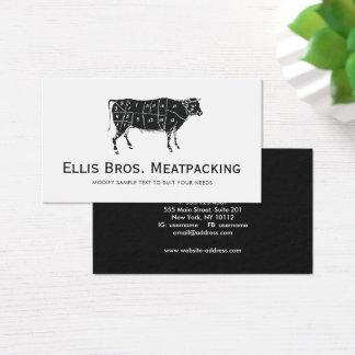 Cut Angus Beef Cow Diagram Business Card
